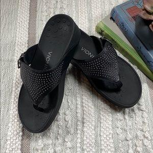 Vionic Black Platform Sandal with Studs and Buckle